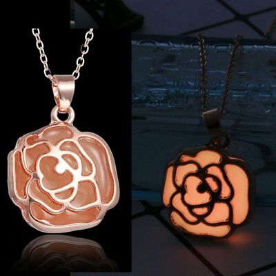 Magic Luminous Steampunk Rose Gold Rose Glow In The Dark Chain Pendant Necklace