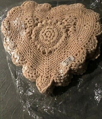 "12 Hand Made Crocheted Heart Shaped Beige Doilies -100% Cotton- 12"" x 12""  New"