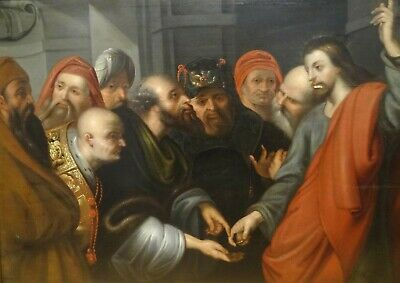 Large 17th Century Dutch Old Master Jesus In The Temple Antique Oil Painting