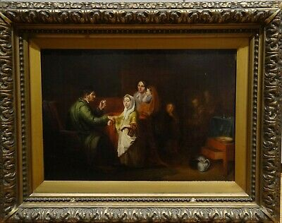 Large 19th Century English Family Physician Doctor Portrait Antique Painting