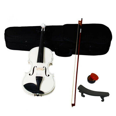 4/4 Full Size Acoustic Violin Set with Case Bow Rosin Bridge Shouder Rest White