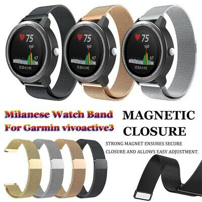Steel Magnetic Watch Band 20mm Strap Milanese Loop For Garmin vivoactive 3
