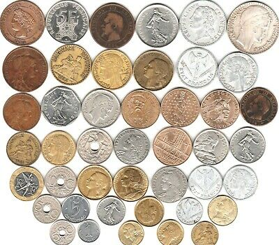 44 different world coins from FRANCE some scarce