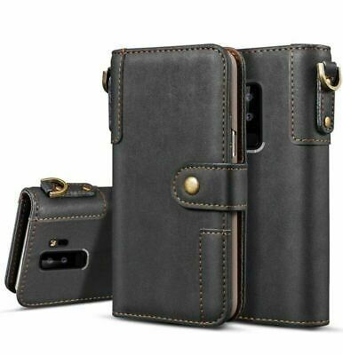 For Samsung S9 S8 S10 Note 10 Plus 5G Vintage Genuine Leather Wallet Case Cover