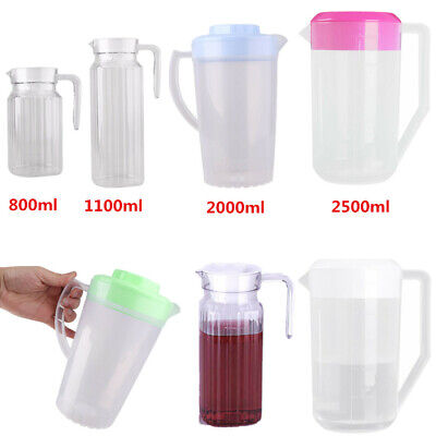 Large Size Ribbed Water Pitcher Jug with Lid Handle for Beverages Water Ice Tea