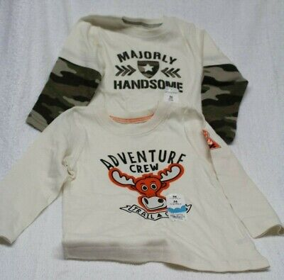 (2)BOYS SZ 24 MONTHS LONG SLEEVE TEES by JUMPING BEANS-NEW WITH TAGS