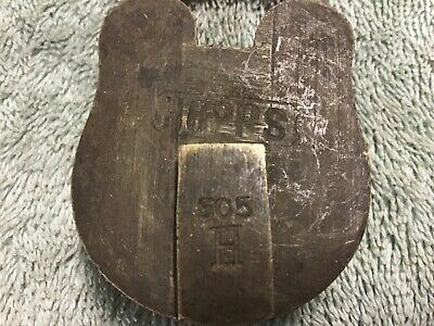 antique Brass padlock with key Hopps 505