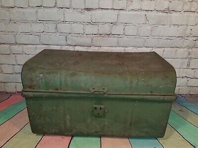 Vintage Industrial Metal Green Military Chest Steamer Trunk Coffee Table