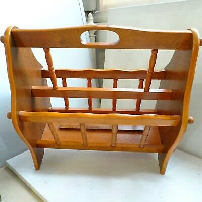 43cm Magazine Rack Rustic Solid Hard Wood Brown Vintage Shabby Chic Country 20E