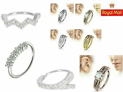 Nose Ring Cartilage Tragus Crystal Diamante Nose Ring Hoop Stud Small Nose Ring