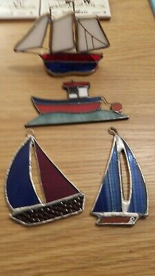 Stained Glass handmade sailing boats Sun-catcher / window decoration