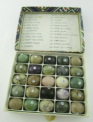 Collection Of 25 Turned Egg Shaped Semi Precious Stone Samples Opalite, Jade Etc