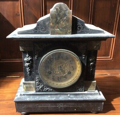 Antique Black Marble Effect Wooden Mantel Clock - Not Working