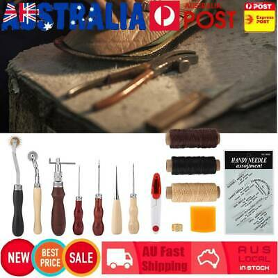 Leather Craft Hand Stitching Sewing Tool Thread Awl Waxed Thimble Kit 14Pcs Set
