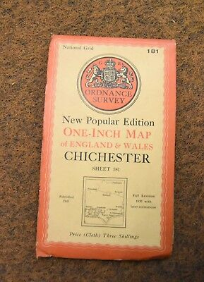 vintage cloth 1945 new popular edition ordnance survey map 181 Chichester