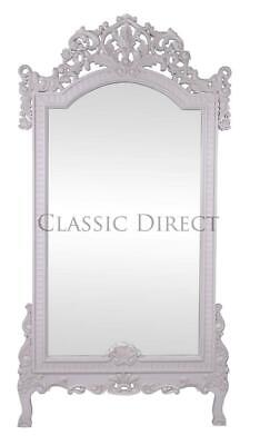SALE Large Freestanding Mirror Rococo Hand Carved Antique White SRP$1500