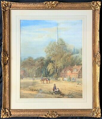 A G Adams (1860) LARGE FINE 19thc COUNTRY VILLAGE LANDSCAPE WATERCOLOUR PAINTING