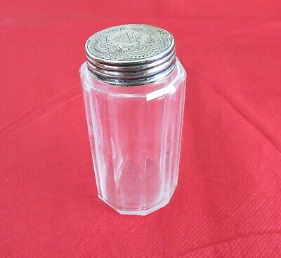 Antique Victorian Sterling Silver Lidded Dressing Table Glass Jar – 1888.