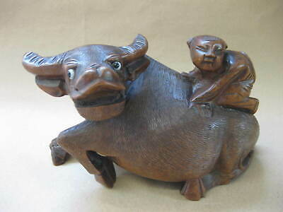Vintage / Antique Chinese Carved Wood Figure of a Water Buffalo with Rider ~1647