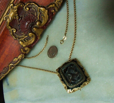 Antique Victorian 12K Gold 10k Mourning Heavy Pendant Pin Rare Necklace
