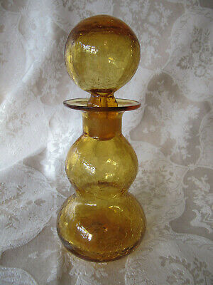 Vintage Blenko Amber CURVY Crackle Glass Decanter with Stopper