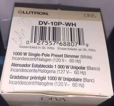 NEW IN BOX Lutron 1000 Watts Light Dimmer Switch Dv-10p-wh White