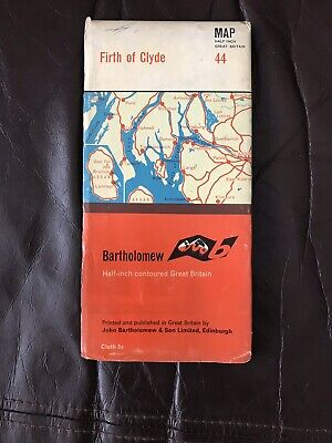 Vintage Bartholomew Half Inch Contoured Clith Map Firth Clyde Scotland