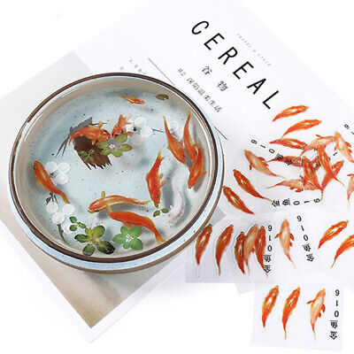 10Pcs 3D Goldfish Clear Film Resin DIY Stickers Water-Like Painting Making UK