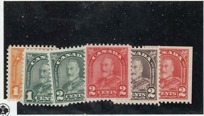 CANADA (MK4451) # 162-66,165bs VF-MNH 1-2cts  KGV ARCH LEAF ISSUES CAT VALUE $31
