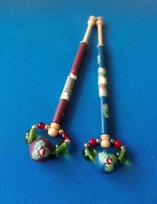 2 Wood Lace Bobbins By Mgt.Wall. Robin & Santa's Sack.Christmas Pudding.Spangles