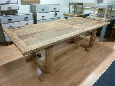 New Large Solid Reclaimed Elm Wood Trestle Dining Table 2.4M *Furniture Store*