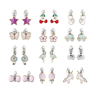 12 Pairs Girls Clip On Earrings Soft Rubber Earring Pad Charming Unique Designs