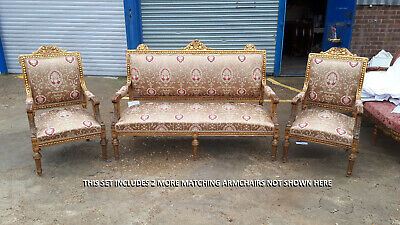 Set Of 4 Gilded Armchairs And Sofa - French Louis 15Th Reupholstered - 629