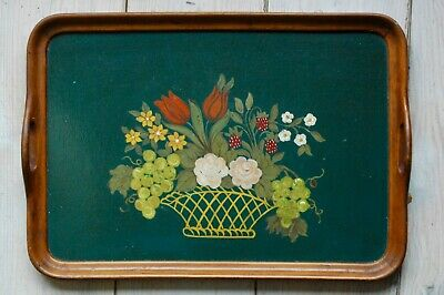 Ancien Plateau Bois Peint - French Vintage Hand Painted Wooden tray