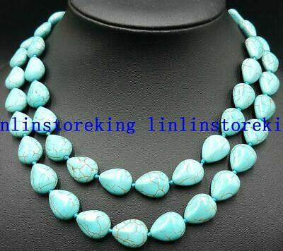 AAA+ 12x16mm Turkey Turquoise Drop Beads Gemstone Necklace 24 inch