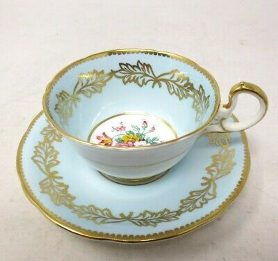 Aynsley Teacup & Saucer - Light Blue with Flowers and Gold Trim - Tea Cup Coffee