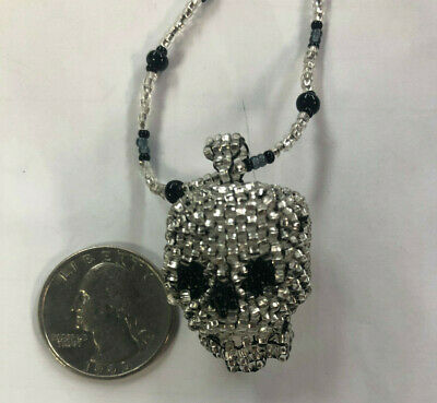 **HAND BEADED!** STANDING ROCK SIOUX TRIBE SD Native American Skull Necklace
