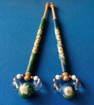 2 Wood Lace Bobbins By Mgt.Wall. Isis Lace Day 1999 & 2000. Flowers. Spangles.
