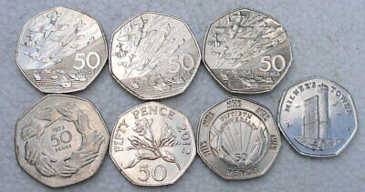 7 x 50P Coins 3 x D-Day 1994 / 1973 /NHS 1998 / Isle of Man 2016 Guernsey 2012