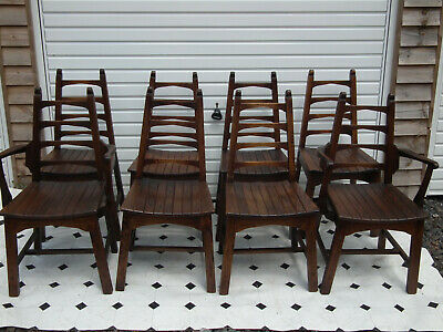 Set Of Eight Arts And Crafts Stylle Solid Oak ChairsTwo Carvers.Webbers Croydon