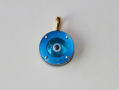 "Evil Eye Titanium Sterling Gold Charm Pendant Round 14mm from Greece ""mataki"""