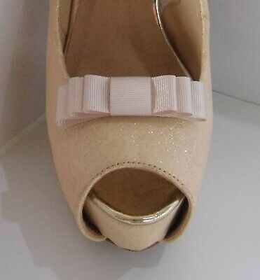 2 Small Triple Cream Grosgrain Shoe Clips - other colours on request
