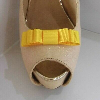 2 Small Triple Sunshine Yellow Grosgrain Shoe Clips - other colours on request