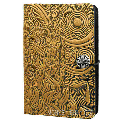 """Van Gogh Sky Starry Night Large 6""""x9"""" Marigold Leather Journal by Oberon Design"""