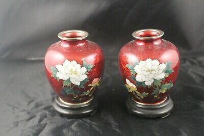"Pair of Nekka Cloisonné Antique Japanese 4"" Metallic Red Floral Vases 1940's"