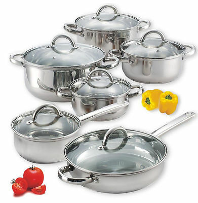 Cookware Set Stainless Steel Pots Pans Glass Lids Frying Cooking Kitchen 12 Pc