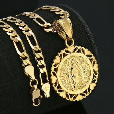 "18k Gold Plated Lovely Round Virgin Mary Pendant 5mm 18"" Figaro Necklace Chain"