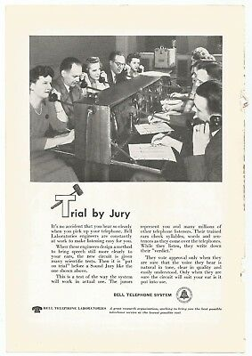 Vtg. 1948 Original Bell Telephone Ad 1940s Trial by Jury Man Cave She Shed Decor