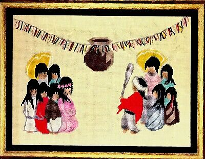 Indian Kids w/Pinata DeGrazia Hand Painted Needlepoint Canvas