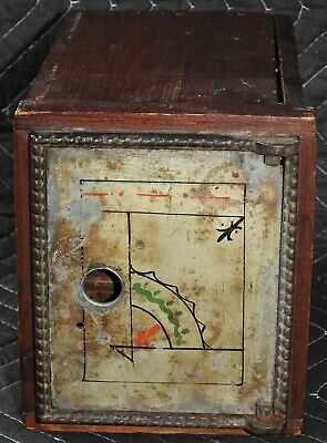 Antique Metal And Wood Oriental Wall Safe Vault With Sliding Drawer